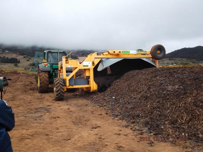 Retournement de compost - Médine, Île-Maurice